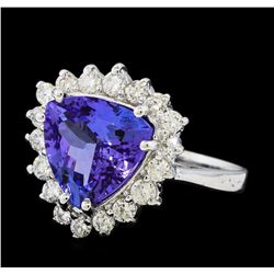 3.70 ctw Tanzanite and Diamond Ring - 14KT White Gold