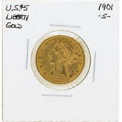 1904-S $5 Liberty Head Half Eagle Gold Coin