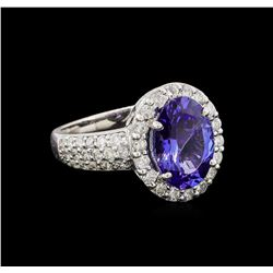 3.16 ctw Tanzanite and Diamond Ring - 14KT White Gold