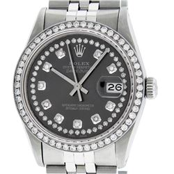 Rolex Mens Stainless Steel Dark Rhodium String Diamond Datejust Wristwatch