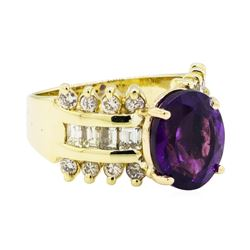4.00 ctw Amethyst and Diamond Ring - 14KT Yellow Gold
