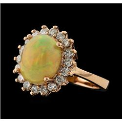 3.25 ctw Opal and Diamond Ring - 14KT Rose Gold