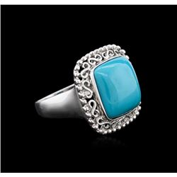14KT White Gold 7.27 ctw Turquoise Ring
