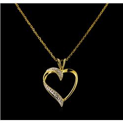 10KT Yellow Gold Diamond Heart Pendant With Chain