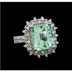 7.91 ctw Emerald and Diamond Ring - 14KT White Gold