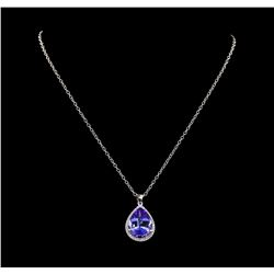 12.98 ctw Tanzanite and Diamond Pendant With Chain - 14KT White Gold