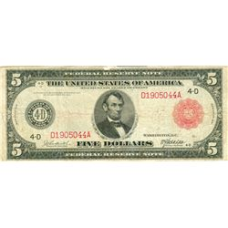1914 $5 United States Red Seal Large Note