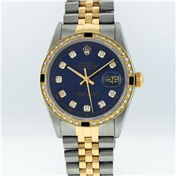 Rolex 18K Two-Tone 1.00 ctw Diamond and Sapphire DateJust Men's Watch
