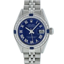 Rolex Ladies Stainless Steel Blue Roman Diamond and Sapphire Datejust Wristwatch