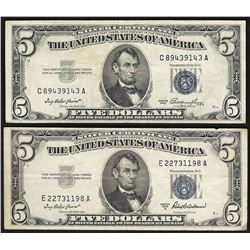Set of (2) 1953 $5 Silver Certificate Notes