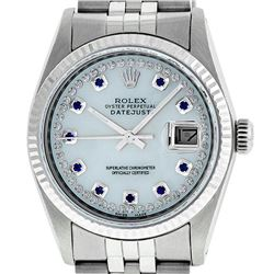 Rolex Mens 36mm Stainless Steel MOP Sapphire String Diamond Datejust Wristwatch