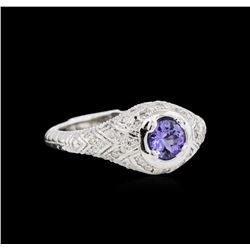 0.60 ctw Tanzanite and Diamond Ring - 14KT White Gold