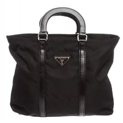 Prada Black Nylon Leather Trim Satchel Bag