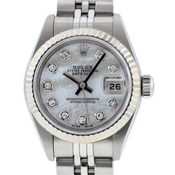 Rolex Ladies MOP Diamond White Gold Fluted Jubilee Band Datejust Quickset Wristw