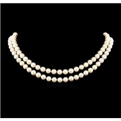 0.21 ctw Diamond and Pearl Necklace - 14KT Yellow Gold