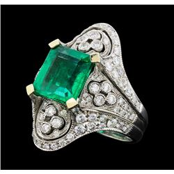 4.05 ctw Emerald And Diamond Ring - 18KT White Gold