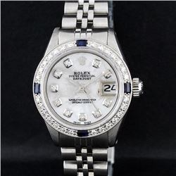 Rolex Stainless Steel MOP Diamond and Sapphire DateJust Ladies Watch