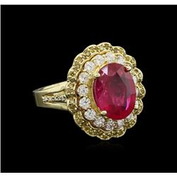5.85 ctw Ruby and Diamond Ring - 14KT Yellow Gold