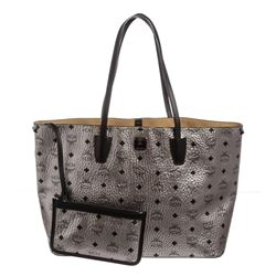 MCM Silver Gray Metallic Visetos Coated Canvas Project Tote Handbag