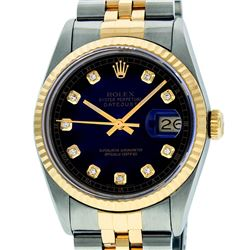 Rolex Mens 36mm Two Tone Yellow Gold Blue Vignette Diamond DateJust Wristwatch