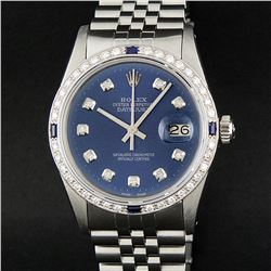 Rolex Stainless Steel Blue Diamond and Sapphire DateJust Men's Watch