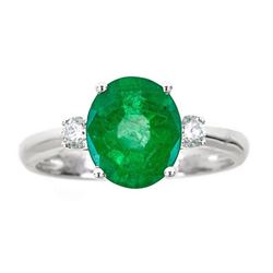 2.64 ctw Emerald and Diamond Ring - 14KT White Gold