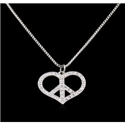 1.10 ctw Diamond Heart Pendant With Chain - 14KT White  Gold