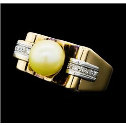 0.10 ctw Diamond and Pearl Ring - 14KT Yellow and White Gold