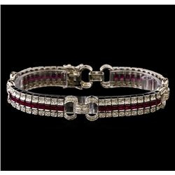 7.25 ctw Ruby and Diamond Bracelet - 14KT White Gold