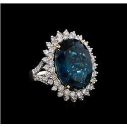 14KT White Gold 19.77 ctw Topaz and Diamond Ring