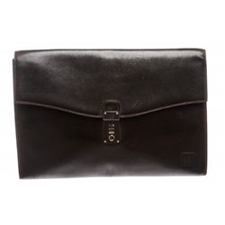 Dunhill Black Leather Flap Envelope Document Clutch