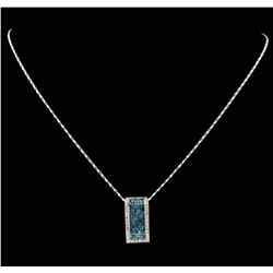 1.20 ctw Diamond Pendant With Chain - 18KT White Gold