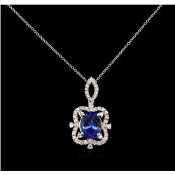 5.17 ctw Tanzanite and Diamond Pendant With Chain - 14KT White Gold