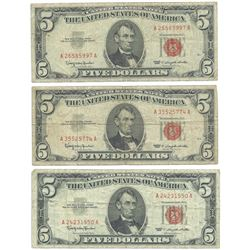 1963 $5 Fine Red Seal Bill Lot of 3
