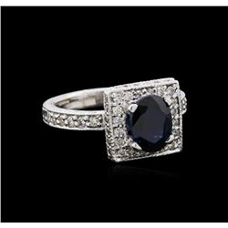 1.68 ctw Sapphire and Diamond Ring - 14KT White Gold