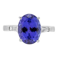 5.56 ctw Tanzanite and Diamond Ring - 18KT White Gold