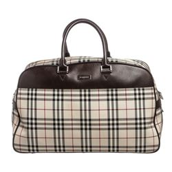 Burberry Nova Check Fabric Brown Leather Travel Duffle Bag