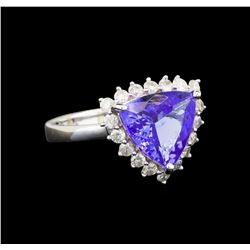 14KT White Gold 3.02 ctw Tanzanite and Diamond Ring