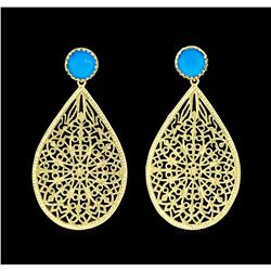 Teardrop Filigree Stone Earrings - Gold Plated