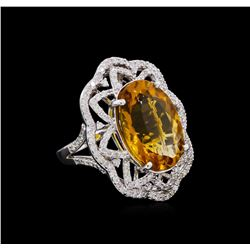 14KT White Gold 10.91 ctw Citrine and Diamond Ring