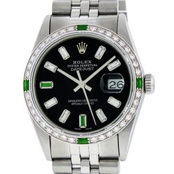 Rolex Mens SS Black Baguette Diamond And Emerald Datejust Wristwatch