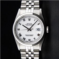 Rolex Stainless Steel White Roman Smooth Bezel DateJust Men's Watch