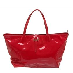 Salvatore Ferragamo Vinyl Red Tote Shoulder Bag