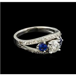 0.95 ctw Diamond and Sapphire Ring - 14KT White Gold