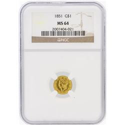 1851 NGC MS64 $1 T-1 Liberty Head Gold Coin