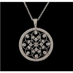 14KT White Gold 0.40 ctw Diamond Pendant With Chain