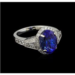 18KT White Gold 5.05 ctw Tanzanite and Diamond Ring