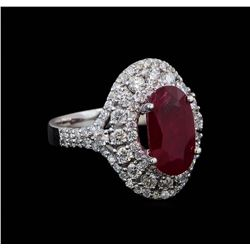 GIA Cert 3.39 ctw Ruby and Diamond Ring - 14KT White Gold