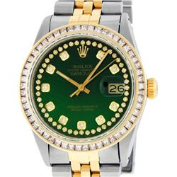 Rolex Mens Two Tone Green String Princess Cut Diamond Datejust Wristwatch