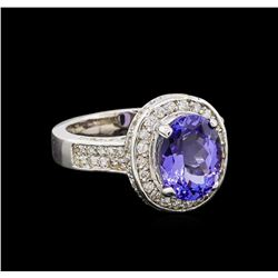 4.20 ctw Tanzanite and Diamond Ring - 14KT White Gold